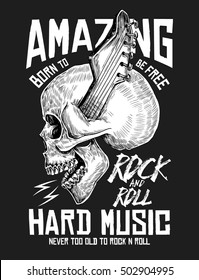 Rock music graphic design with skull illustration