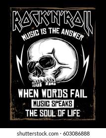 Rock music graphic design with skull illustration