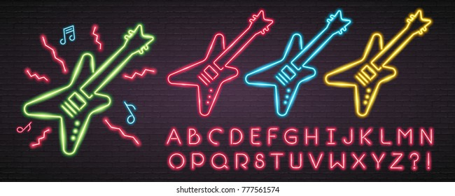 Rock Music Guitar Set with Alphabet Neon Light Glowing Vector Graphic Illustration Bright. Easy Editing Text Luminous Signboard, Nightly Advertising. Editing Text Neon Sign Neon Alphabet