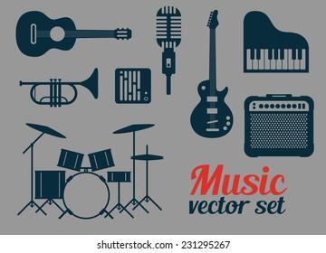 Rock music instruments icons set, vector illustration