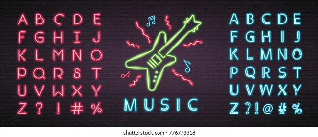 Rock Music Neon Light Glowing Bright. Guitar, Music Note Sign Symbol Neon and Blue, Red Neon Alphabet. Easy Editing Text Neon Alphabet
