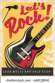 Rock music party retro poster design with electric guitar on grunge yellow background. Concert invitation concept.