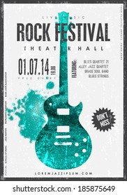 Rock music, poster background template. Texture effects can be turned off.