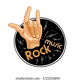 Rock music poster. Old school party. Logo with hand for flyer with poster or t-shirt logo, clothing print with hand lettering and zipper. Cartoon vector illustration