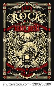 Rock music print. Angry bull Minotaur and crossed swords. Heavy metal, Let's Rock slogan. Musical old school art, t-shirt design