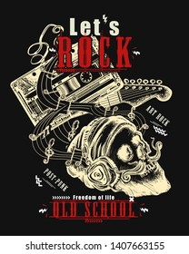 Rock music print. Audio cassette, guitar and skull hipster. Let's Rock slogan. Musical vector art, t-shirt design