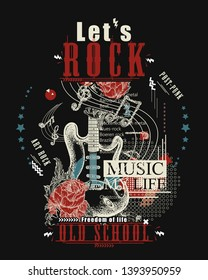 Rock music print. Electro guitar and roses. Let's Rock slogan. Musical vector art, t-shirt design