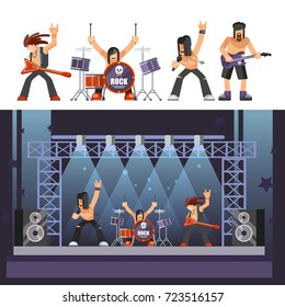 Rock music rockers band performing on stage singer, bass guitarist percussion vector icons