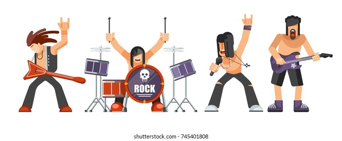 Rock music or rockers band performing on stage with guitarist