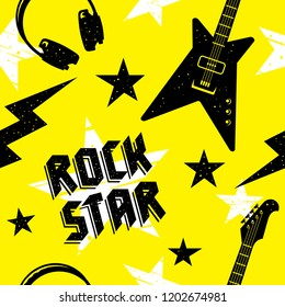 Rock music seamless pattern. Endless vector background with rock music attributes and simbols