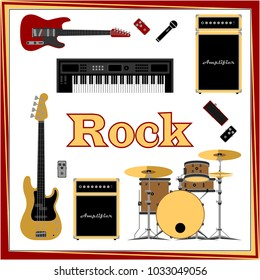 Rock music set vector illustration