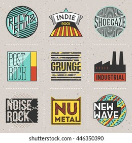 Rock Music Styles Genres Color Logotypes Set 2. Line Art Vector Elements.