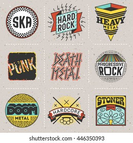 Rock Music Styles Genres Color Logotypes Set 1. Line Art Vector Elements.