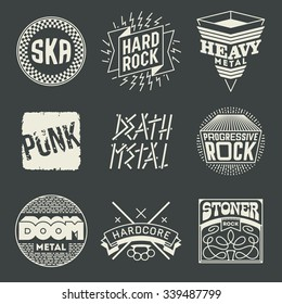 Rock Music Styles Genres Logotypes Set 1. Line Art Vector Elements.