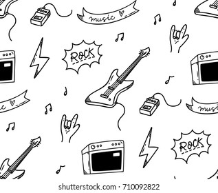 Rock music theme doodle seamless background
