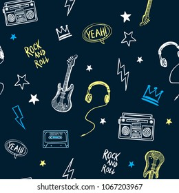 Rock music theme vector seamless pattern. For textile print and other uses