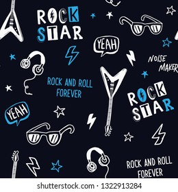 Rock music theme vector seamless pattern. For textile prints and other uses.,