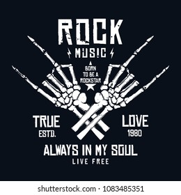 Rock music t-shirt design. Vintage rock festival poster design, slogan for t-shirt print. Hands of skeleton and lettering on dark background. Vector