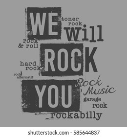 Rock music typography, tee shirt graphics, vectors, expression,