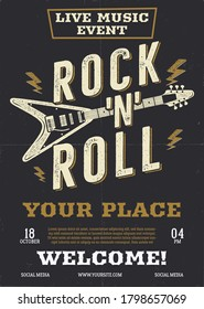 Rock music vector flyer, live event poster background template with guitar. Rock N Roll background. Vector design illustration
