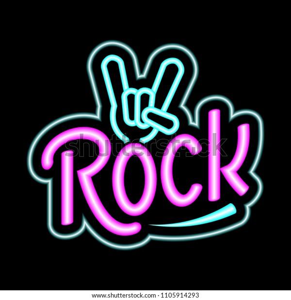 Rock Music Vector Neon Neon Sign Stock Vector (Royalty Free