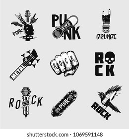Rock music vintage emblem set. Underground  punk signs. Black and white icons set. Heavy metal illustration.