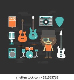 rock musician and music instrument, flat style