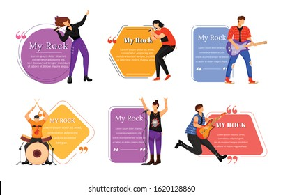 Rock musicians flat color vector illustration. Music band members. Isolated cartoon character. Quote blank frame template. Speech bubble. Quotation, citation text box design.