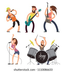 Rock musicians and singers isolated on white background. Music band performance, young guitarist artist, vector illustration