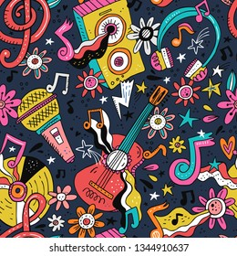 Rock n roll doodle vector seamless pattern. Hippie music cartoon illustrations. Disco party. Retro, vintage backdrop. Musical pop concert, festival, live event background, wallpaper color design