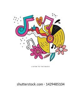 Rock n roll doodle vector illustration. Hippie music clipart. Vinyl record, notes, flowers hand drawn composition. Disco party drawing. Musical festival, concert, event poster, t-shirt design element