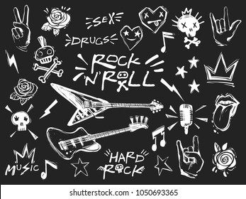 Rock n roll elements collection. Vector hard rock doodle illustrations, signs, objects, symbols. Cartoon rock star icon for music band, concert, party. Isolated on Black background