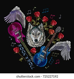 Rock n Roll embroidery, rock music print. Wolf, guitar, wings, roses, classical embroidery, music art template for clothes, textiles, t-shirt design