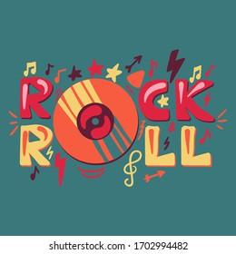 Rock N Roll hand drawn cartoon illustration. Disco, retro music concert poster, banner, invitation