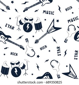 rock 'n' roll icons pattern vector.