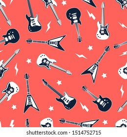 Rock n roll with icons and slogan seamless vector.