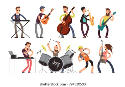 Rock n roll music band vector characters with musical instruments. Musicians playing music. Concert music with guitar and singer illiustration