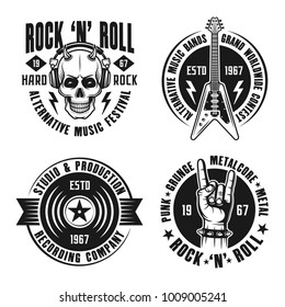 Rock n roll music set of vector emblems, labels, badges and logos in vintage style on white