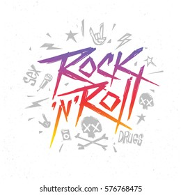 Rock n Roll music Trendy Retro Pop style 80th - 90th lettering music poster, cover album design. Rock'n'Roll hipster style  t-shirt  Print label, template for music event design isolated from white