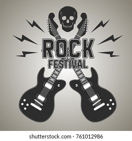 Rock n roll poster with crossed electric guitars and human skull, lightnings. Rock and grunge, punk or heavy metal album cover or record studio banner, tattoo or mascot. Sound and music theme