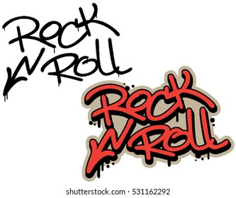 Rock n roll, spray graffiti tag. High voltage sign. Hand lettering typography. White background.