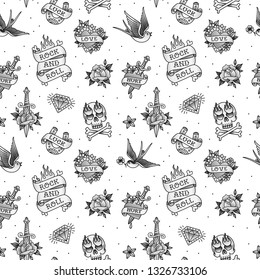 Rock n roll tattoo vintage pattern on white background. Rock symbols and objects set of swallow, anchor, heart, rose. Rockabilly tattoo background for print fabric and wrapping paper