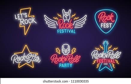 Rock neon signboard set. Let's rock. Rock festival. Rock star. Rock'n'roll party. Vector illustration.