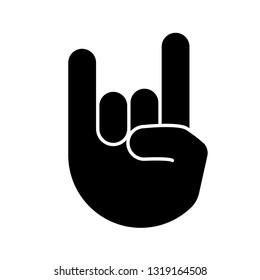 Rock on gesture glyph icon. Silhouette symbol. Horns sign emoji. Devil fingers. Heavy metal hand gesture. Negative space. Vector isolated illustration