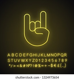 Rock on gesture neon light icon. Horns sign emoji. Devil fingers. Heavy metal hand gesture. Glowing sign with alphabet, numbers and symbols. Vector isolated illustration