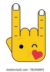 """""""Rock on"""" hand gesture Character Emoji Illustration. Kissing Face Emoji vector illustration."""