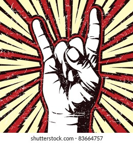 Rock On Human Hand Sign and Hand Signal Black and White Vector Graphic Illustration with Electric Lightning Bolt Background