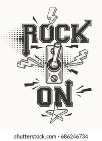 Rock on monochrome music poster