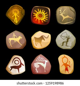 Rock Painting set. Primitive art. Vector interpretation of real-life drawings of ancient people.