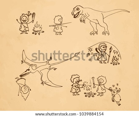 Rock Paintings Doodle Illustrations Of Dinosaurs And Cave Men Funny Vector Set